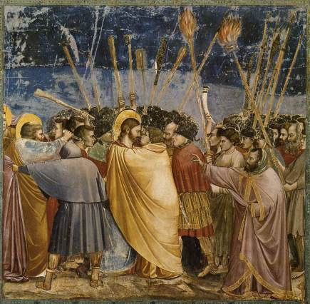 Judas kisses Jesus -- fresco by Giotto di Bondone at the Arena Chapel padua-judas-kiss-large