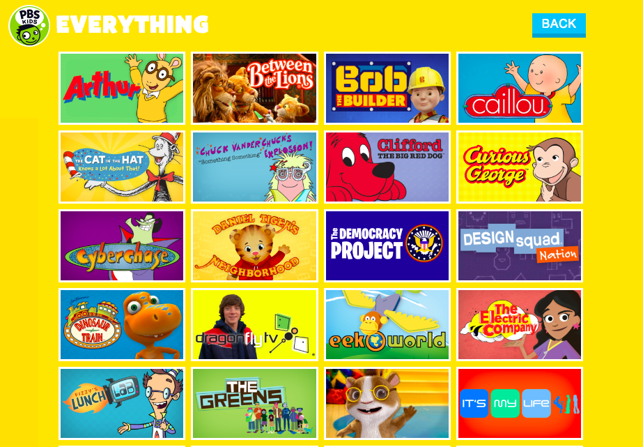 We're still swimming in sexism in kids' viewing. Find great shows that give a range of genders and ethnicities in this article from Sacraparental.com. This is a screenshot of the 'all shows' page of the pbskids.org website. These first 20 shows, in alphabetical order. Count the female characters featured.