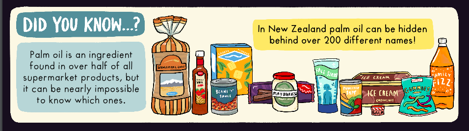 Palm oil in grocery items - detail from Auckland Zoo's shopping guide, illustrated by Giselle Clarkson