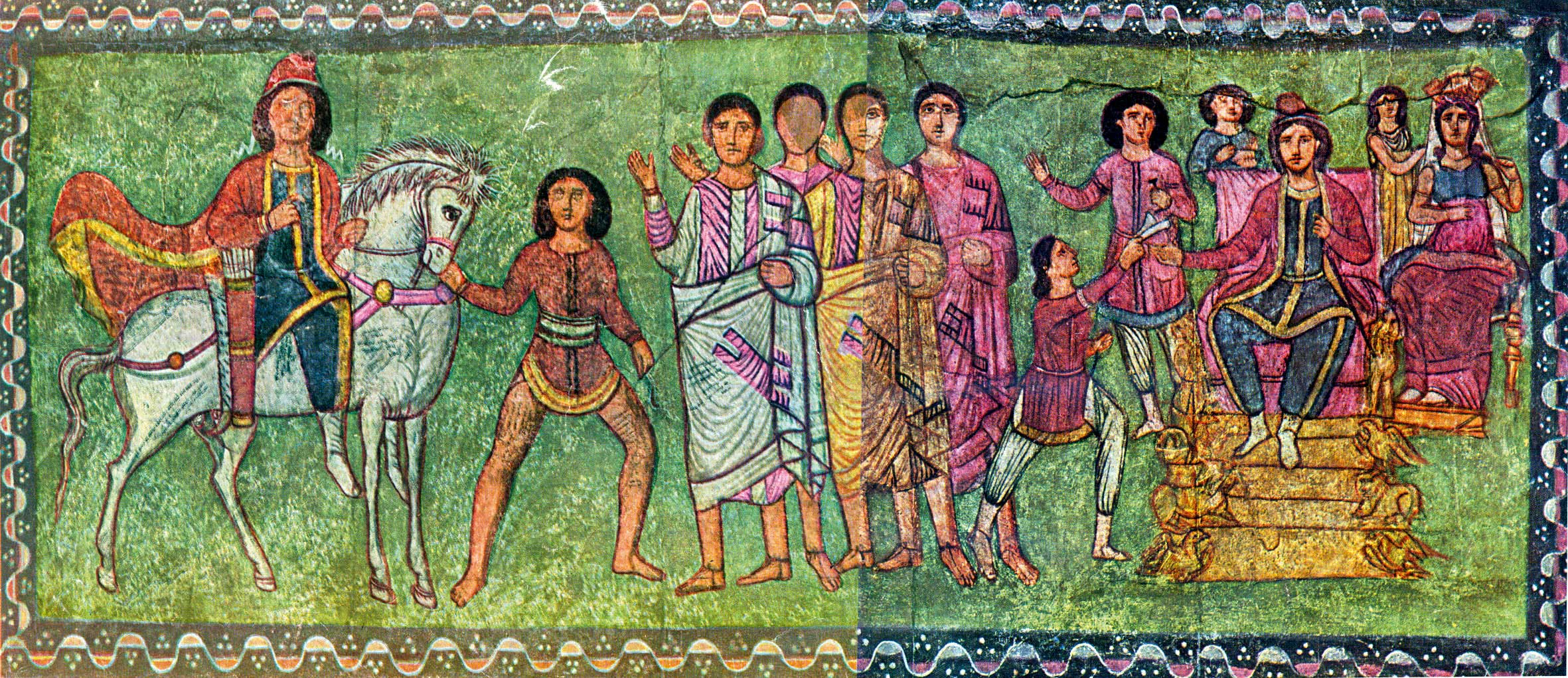 Early 3rd century CE Roman painting of Esther and Mordechai, Dura-Europos synagogue, Syria.