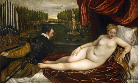 TItian, Venus, an organist and a little dog | HOPEFULLY NOT PASSING ON BODY HATRED More good stuff on body image here too. | Sacraparental.com