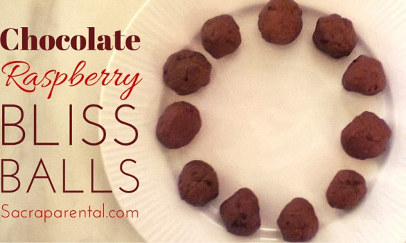 Recipe for delicious chocolate raspberry bliss balls, packed with extra protein and no junk | Sacraparental.com