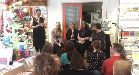 Emily Writes introducing the (girl)Friends contributors, Jessie Moss, Holly Walker, Gem Wilder and me.